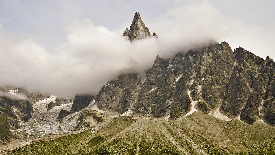 Horizontal Photograph - Aiguille Du Dru In Mont Blanc Massif by David Pérez