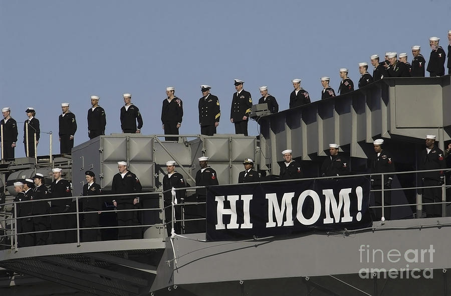 Horizontal Photograph - Ailors And Marines Man The Rails Aboard by Stocktrek Images