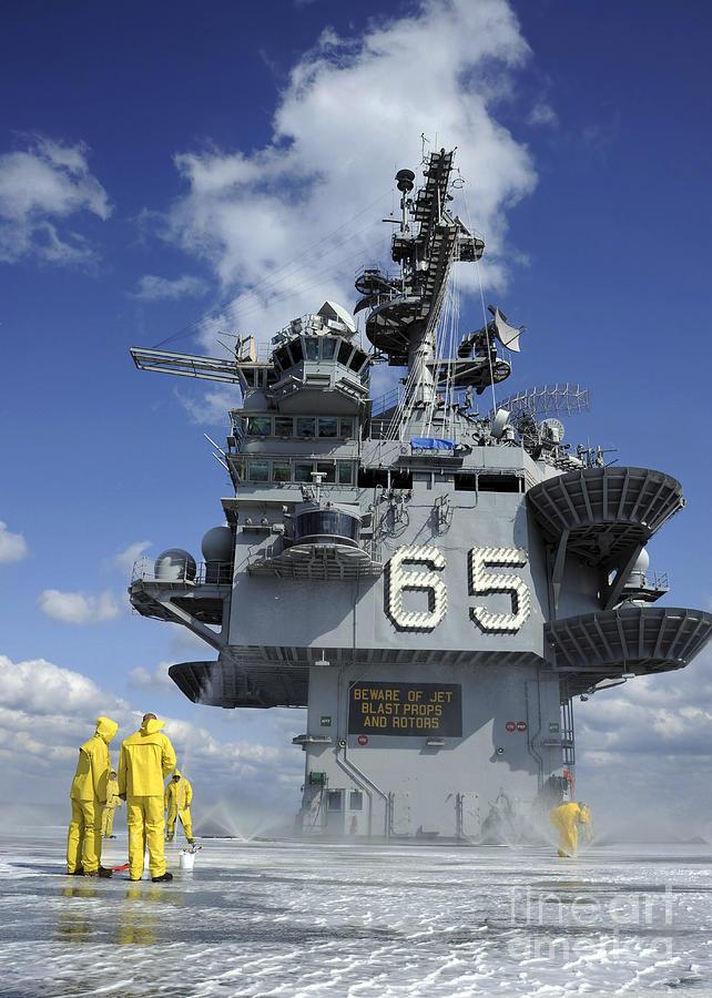 Flight Deck Photograph - Air Department Sailors Test by Stocktrek Images
