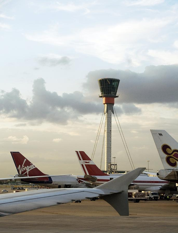 London Heathrow Airport Photograph - Air Traffic Control Tower, Uk by Carlos Dominguez