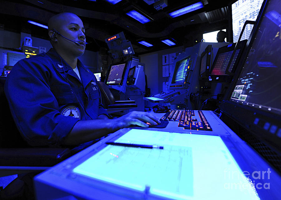 Uss George Hw Bush Photograph - Air Traffic Controller Stands Watch by Stocktrek Images