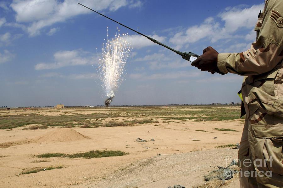 Battlefield Photograph - Airmen Conduct A Controlled Detonation by Stocktrek Images