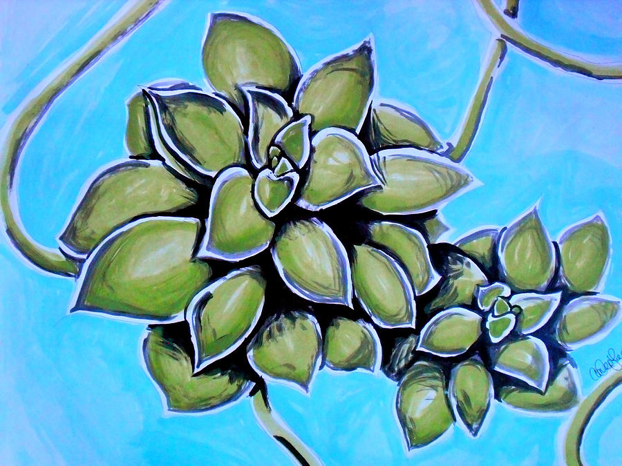 Watercolor Painting - Airplane Plant by Amber Hennessey