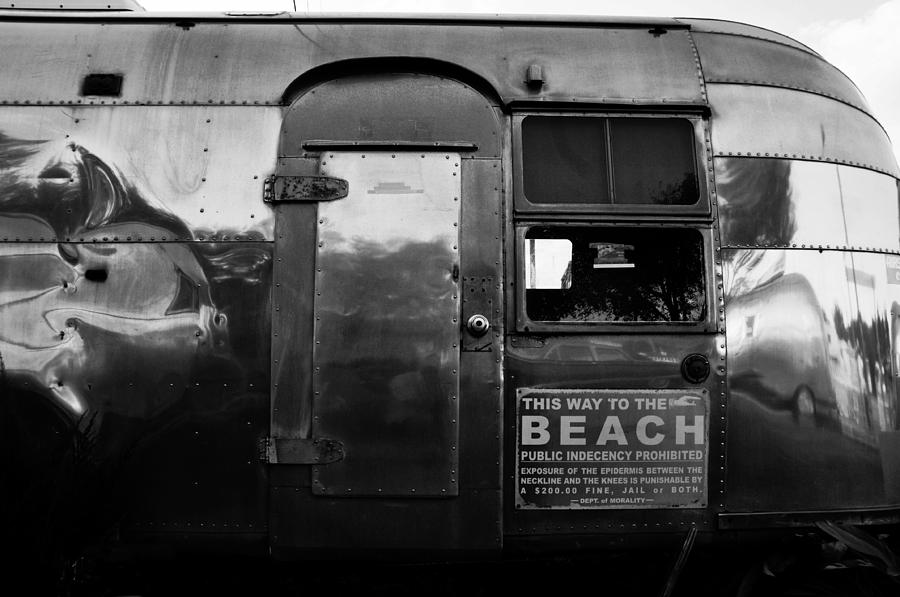 Black And White Photograph - Airstream At The Beach by David Lee Thompson