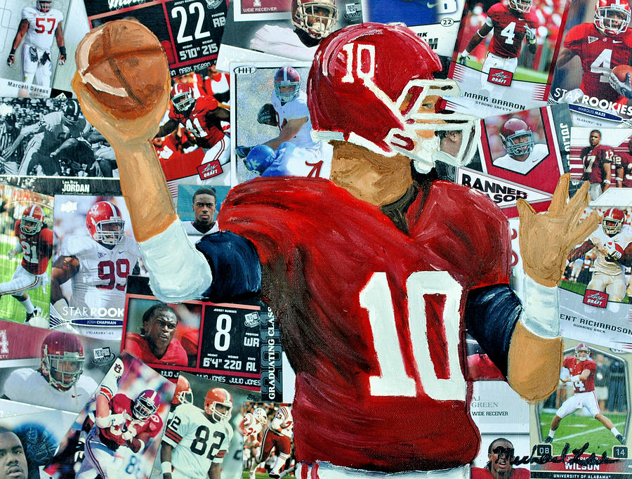 Football Painting - Alabama Quarter Back Passing by Michael Lee