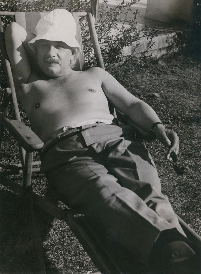 History Photograph - Albert Einstein 1879-1955, Sunbathing by Everett
