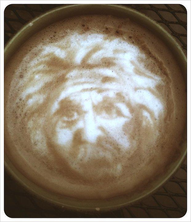 Albert Einstein Latte Portrait Mixed Media by Taylor Higgins