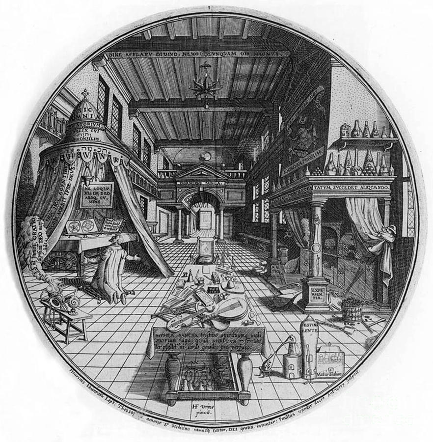 Science Photograph - Alchemists Laboratory, 1595 by Science Source