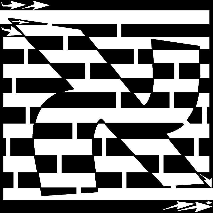 Hebrew Letter Digital Art - Aleph Maze by Yonatan Frimer Maze Artist