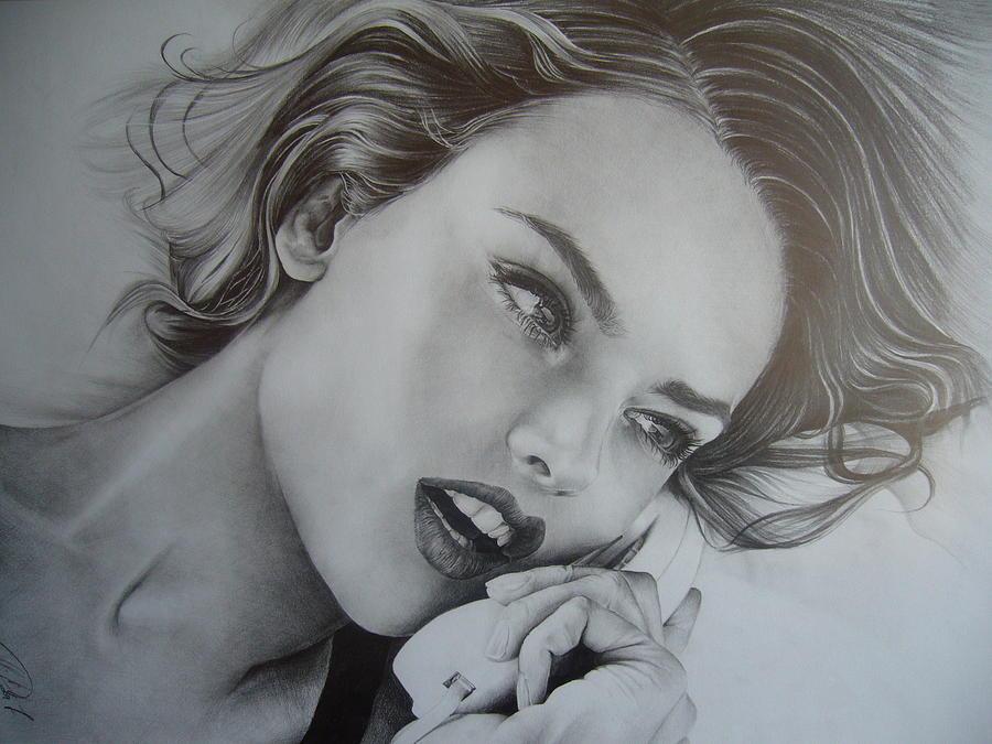 Portrait Drawing - Alessandra by Oleg Dashevsky