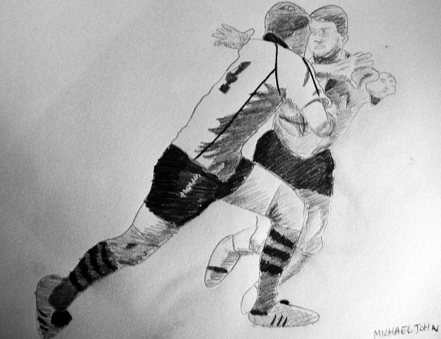 Rugby Drawing - Alex Stiff Arm by Michael Ringwalt
