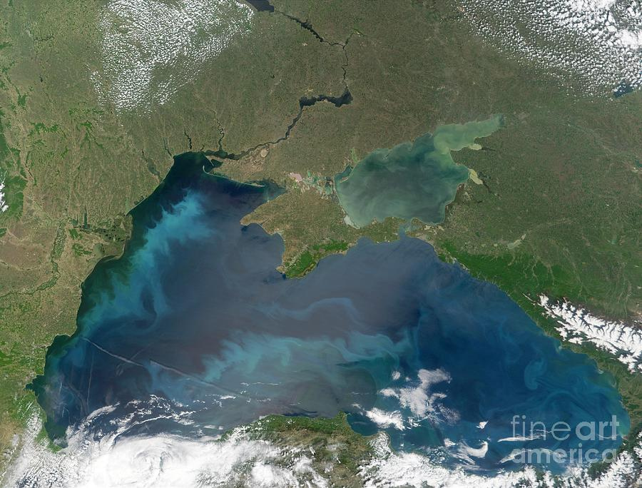 2002 Photograph - Algal Blooms In The Black Sea by NASA / Science Source