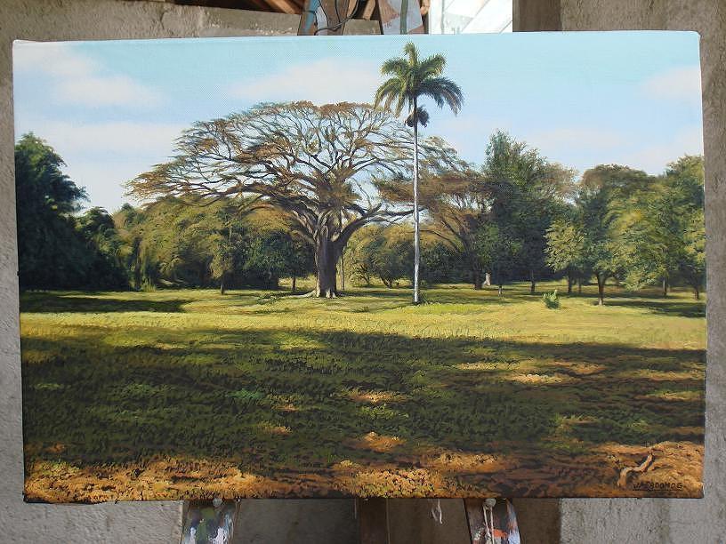 Algarrobo En El Jardin Painting by Jose Milagros Perdomo