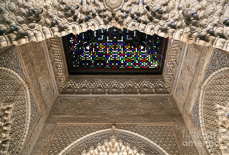 Alhambra Photograph - Alhambra Stained Glass Detail by Jane Rix