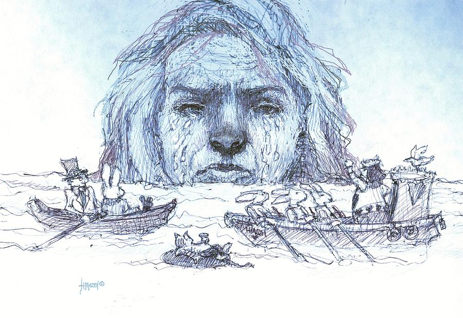 Alice Drawing - Alice Cries Me A Flood by Herb Russel