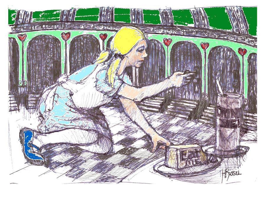 Alice Drawing - Alice Finds The Key by Herb Russel