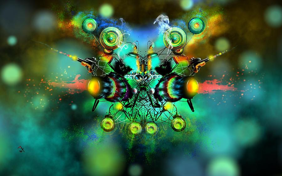 Alien Painting - Alien Fighter by Adam Vance