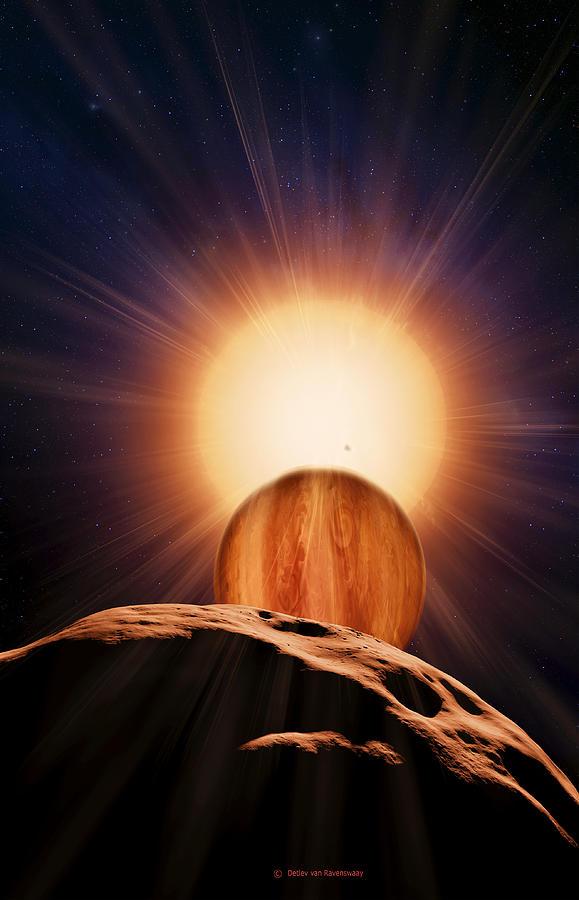 Brown Dwarf Photograph - Alien Planet And Asteroid, Artwork by Detlev Van Ravenswaay