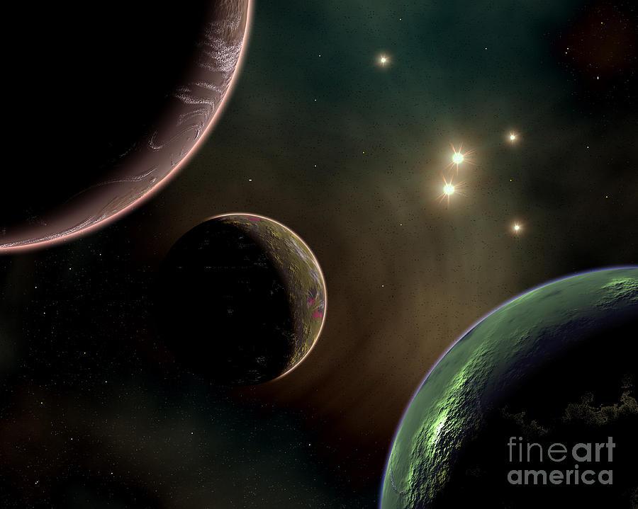 Concept Digital Art - Alien Worlds That Orbit Different Types by Mark Stevenson