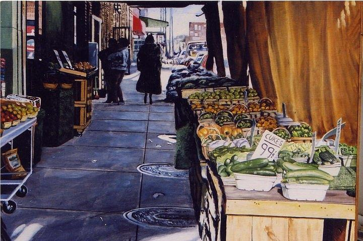 City Scene / Urban Scene Painting - Aliotos Produce by James Guentner