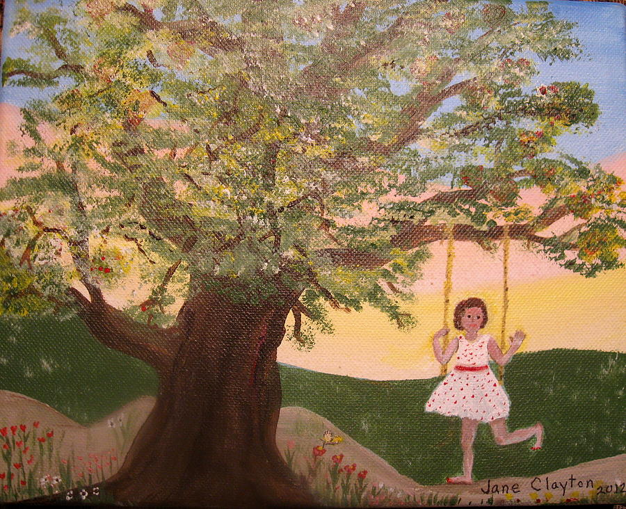Child Swinging Painting - Alison Sweet Alison by Jane Williams Clayton