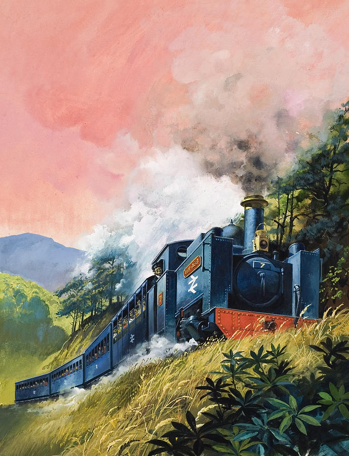 English Painting - All Aboard For Devils Bridge by English School