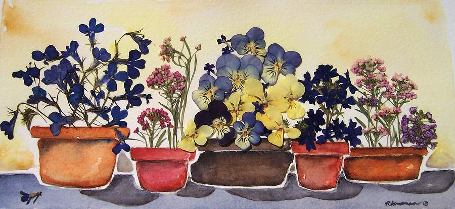 Flowers Painting - All In A Row by Regina Ammerman