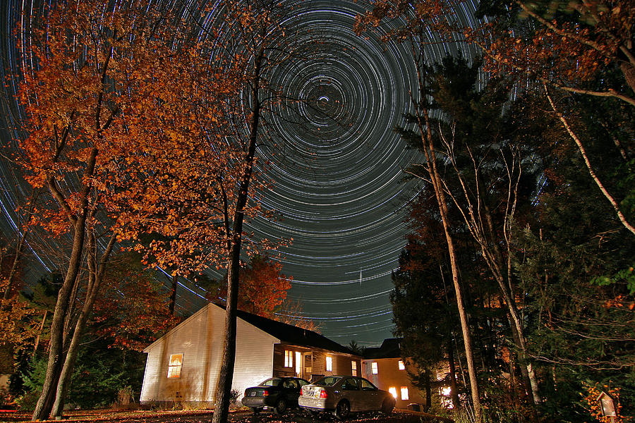 Star Trail Photograph - All Night Star Trails by Larry Landolfi