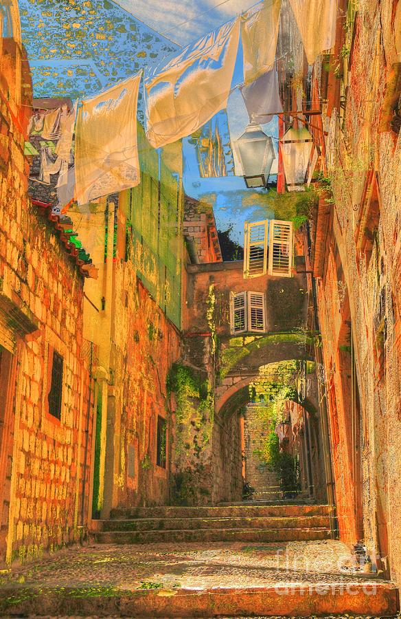 Croatia Digital Art - Alley In Croatia by Alberta Brown Buller