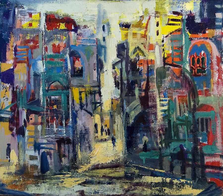 Salomon Painting - Alley In Jerusalem by Naftali Salomon