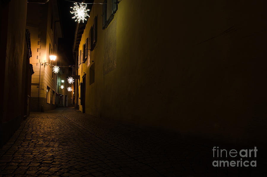 Alley Photograph - Alley In Night With Lights by Mats Silvan