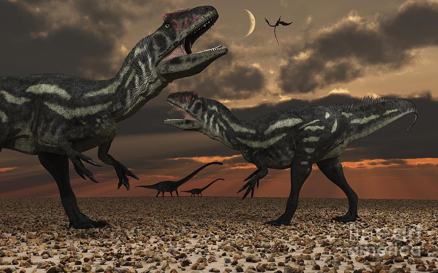 Enemy Digital Art - Allosaurus Dinosaurs Stalk Their Next by Mark Stevenson
