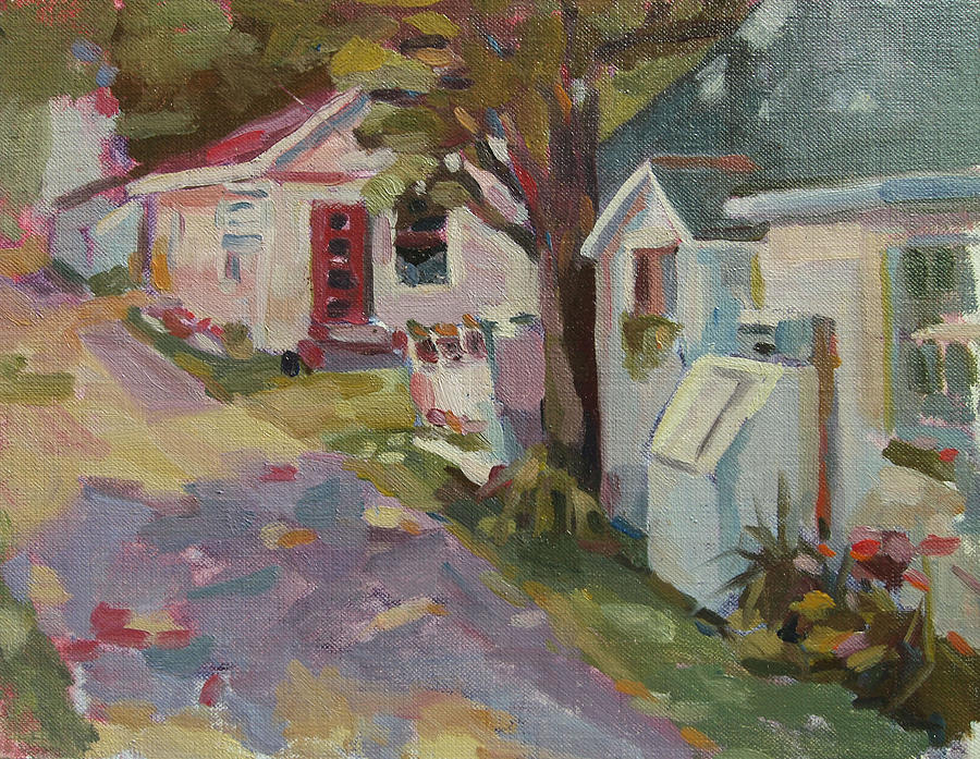 Landscape Painting Painting - Ally Shops by Jenny Anderson