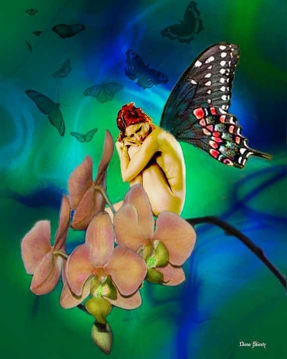 Fairy Digital Art - Alone I Wait by Diana Shively