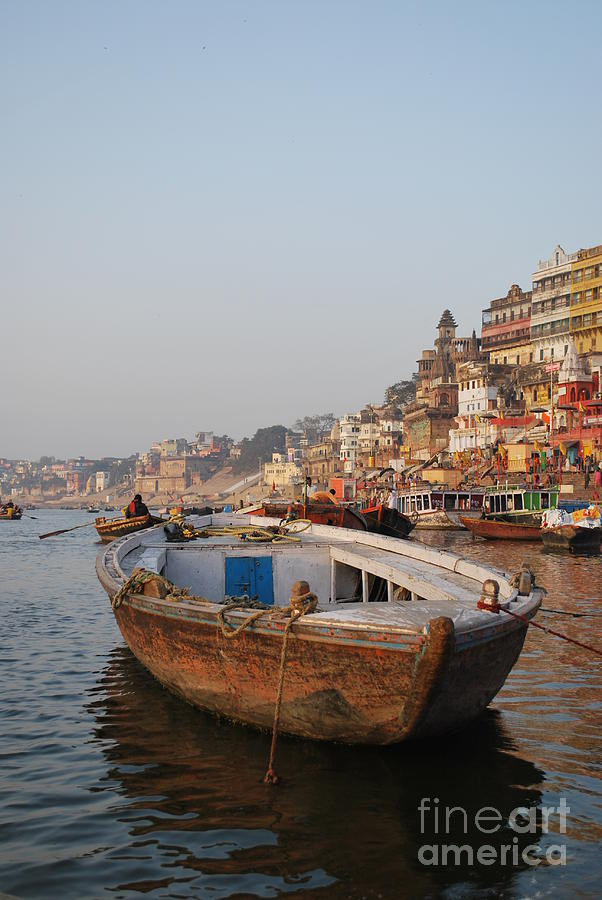 Varanasi Photograph - Alone On The Ganges by Jen Bodendorfer