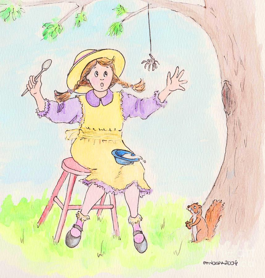 Miss Muffet Spider Squirrel Porridge Drawing - Along Came A Spider Little Miss Muffet by Marybeth Friel-Patton