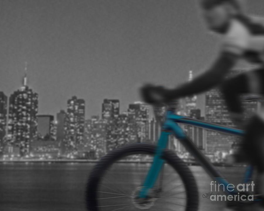 Bike Digital Art - Along The River by Linda Seacord