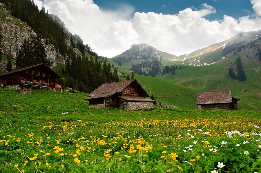 Alpine Photograph - Alpine Huts - Switzerland by Kitty Bern