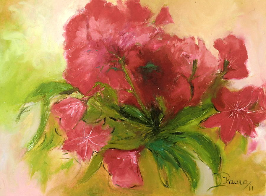 Red Green Painting - Amarylis by Isaura Campos