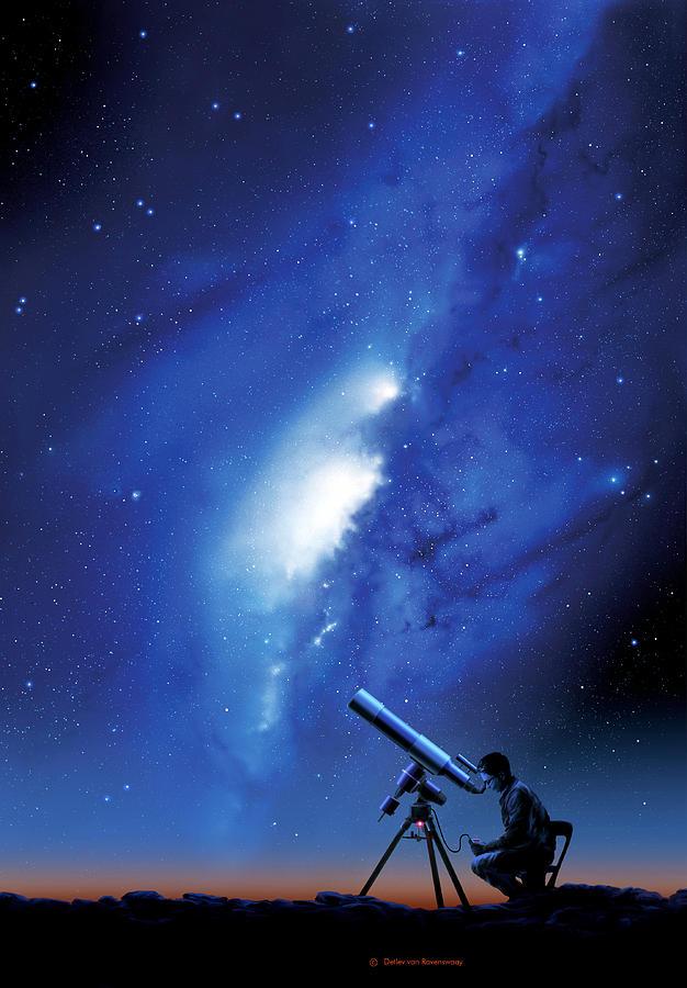 Milky Way Photograph - Amateur Astronomy, Computer Artwork by Detlev Van Ravenswaay