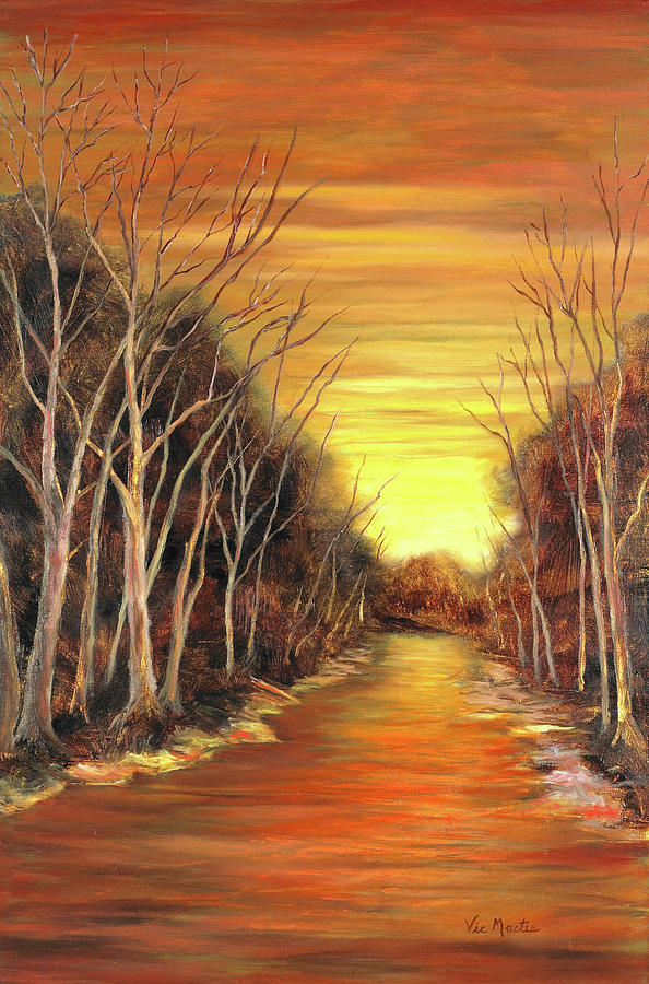 Sunset Painting - Amber River by Vic  Mastis