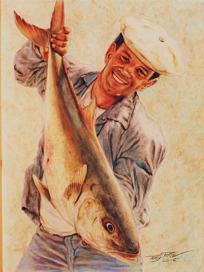 Portrait Drawing - Amberjack by Terry Jackson