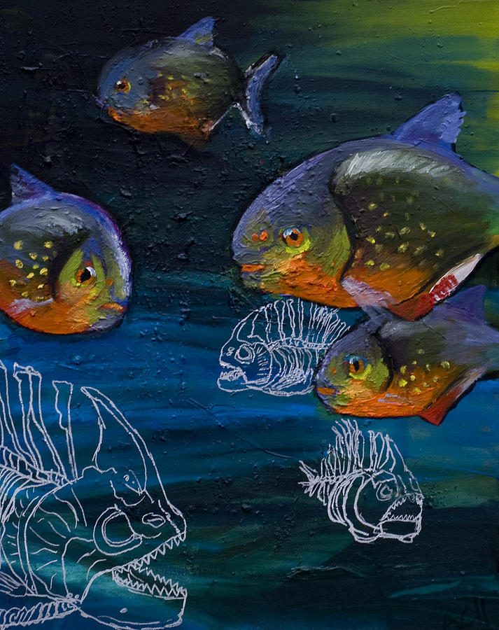 Fish Painting - Ambiguity  by Anthony Cavins