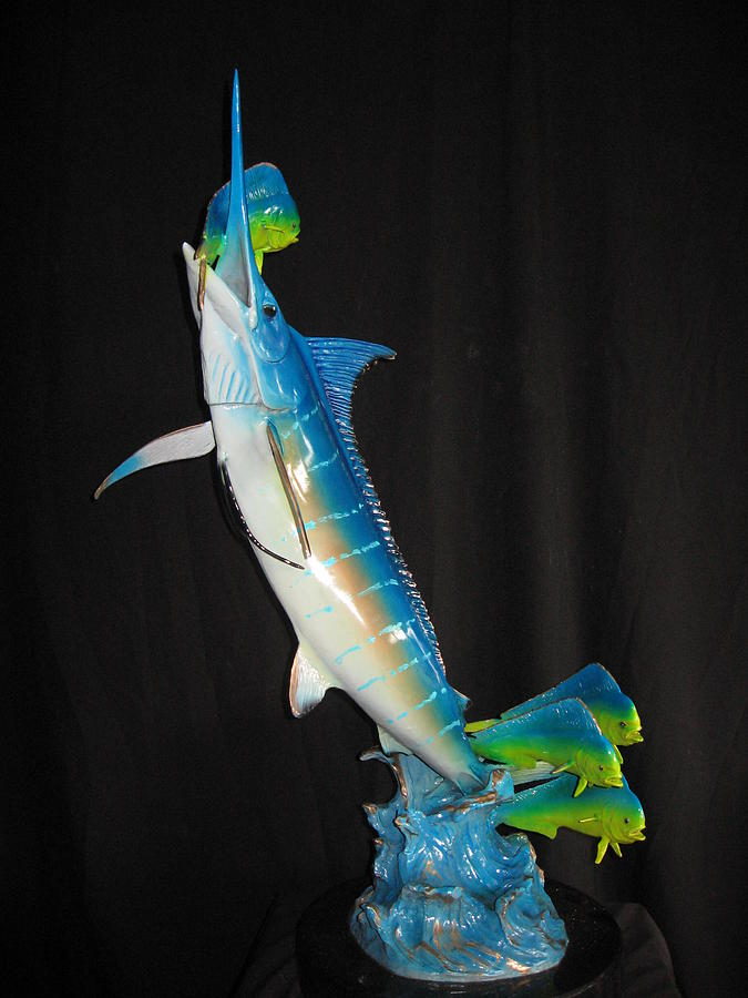 Blue Marlin Sculpture - Ambush by John Townsend