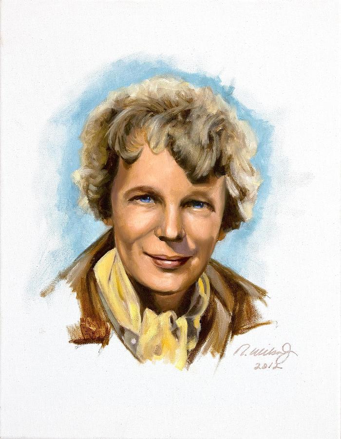 Aviatrix Painting - Amelia Earhart by Karen Wilson