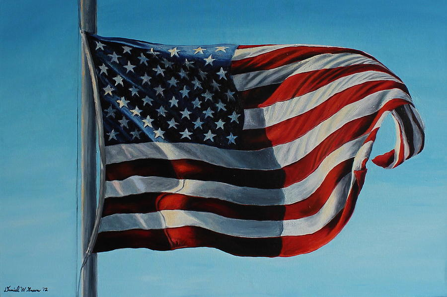 American Flag Painting - America The Beautiful by Daniel W Green