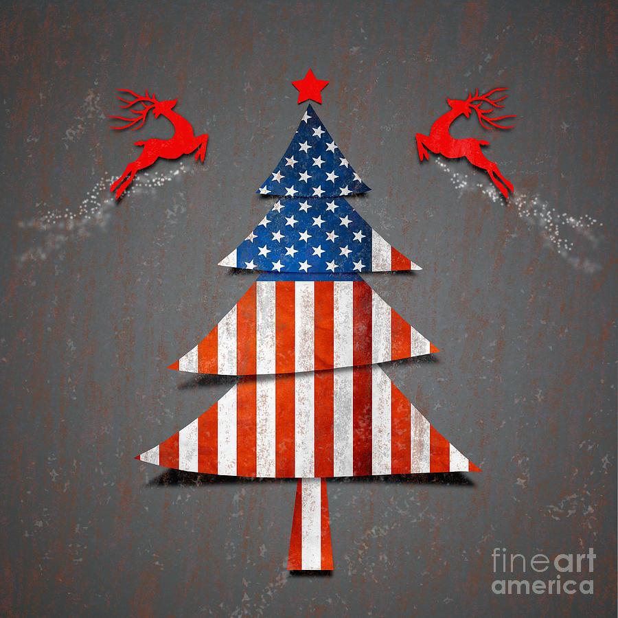 America Digital Art - America Xmas Tree by Atiketta Sangasaeng