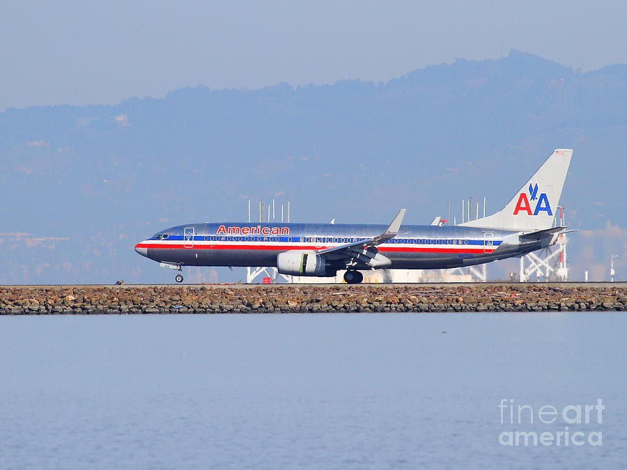 Plane Photograph - American Airlines Jet Airplane At San Francisco International Airport Sfo . 7d11837 by Wingsdomain Art and Photography