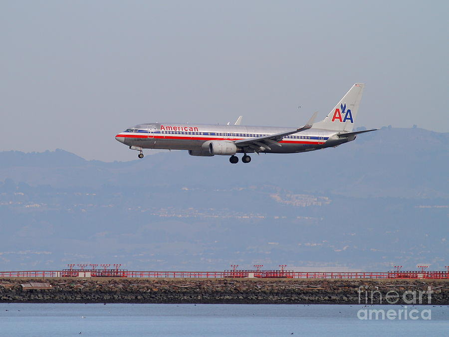 Airplane Photograph - American Airlines Jet Airplane At San Francisco International Airport Sfo . 7d12212 by Wingsdomain Art and Photography