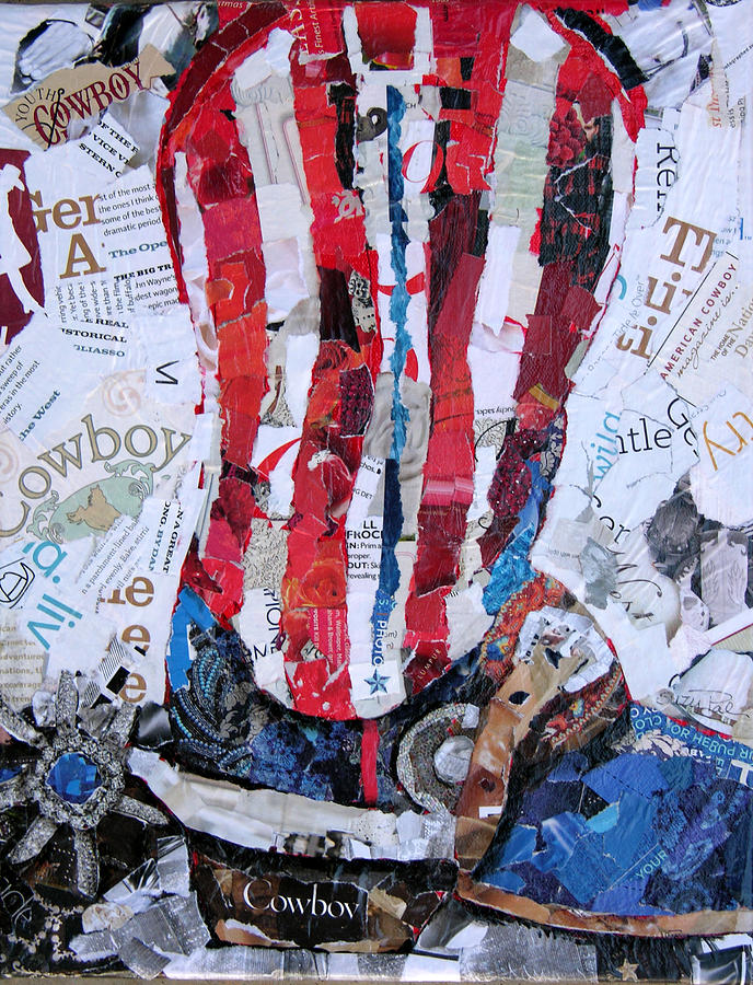 Torn Paper Collage Painting - American Boot by Suzy Pal Powell